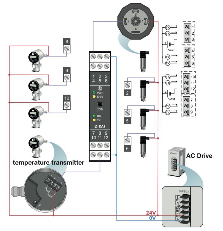 Cách đấu dây bộ chuyển đổi Modbus Z-8AI
