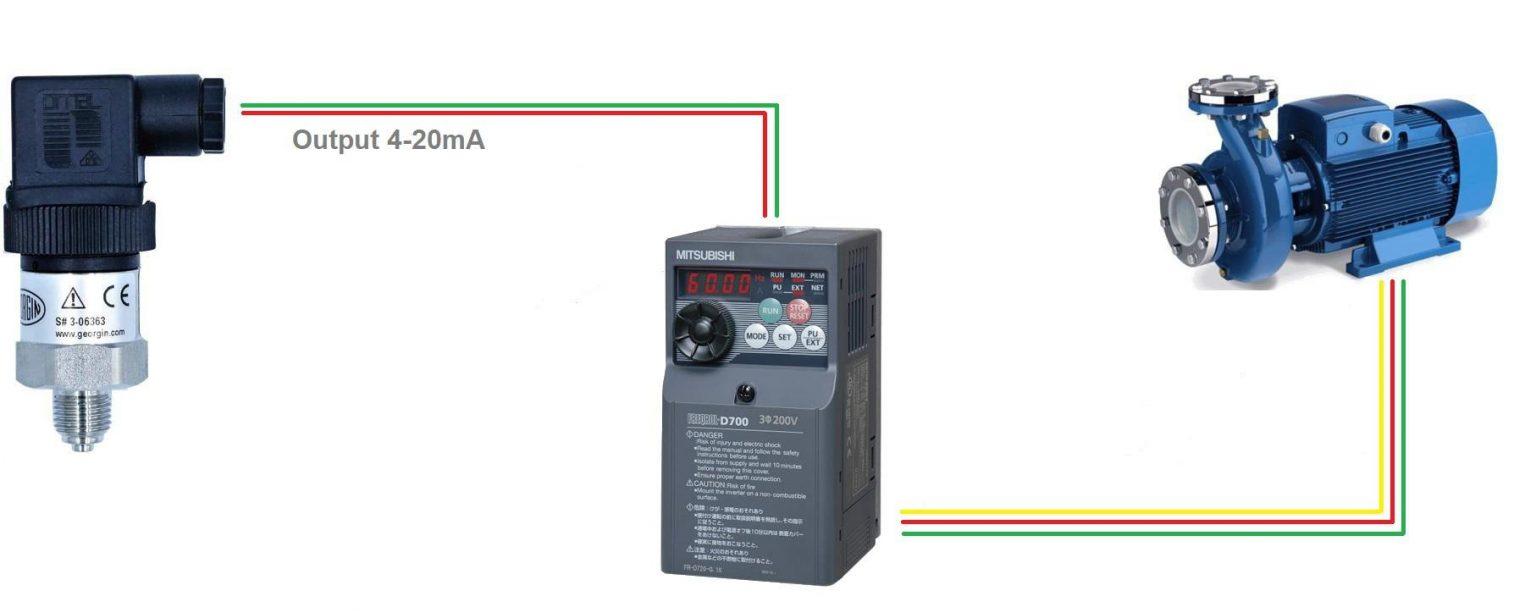 Kết nối cảm biến áp suất nước với biến tần