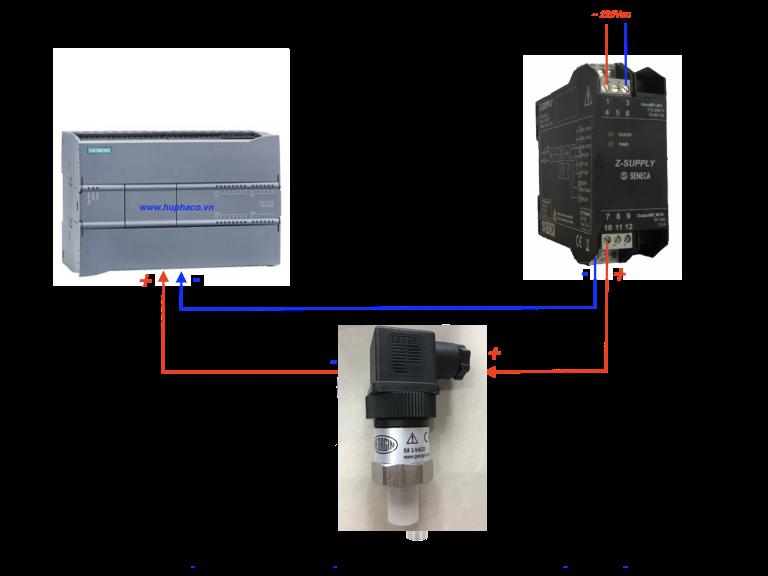cach kết nối cảm biến áp suất với PLC nguồn 24V