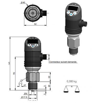 kích thước công tắc áp suất điện tử