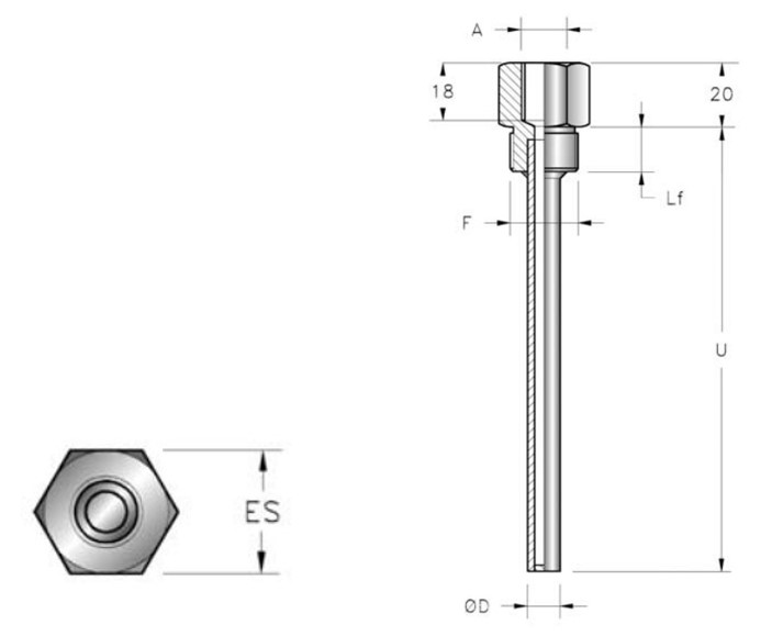 ống nhiệt thermowell pt1