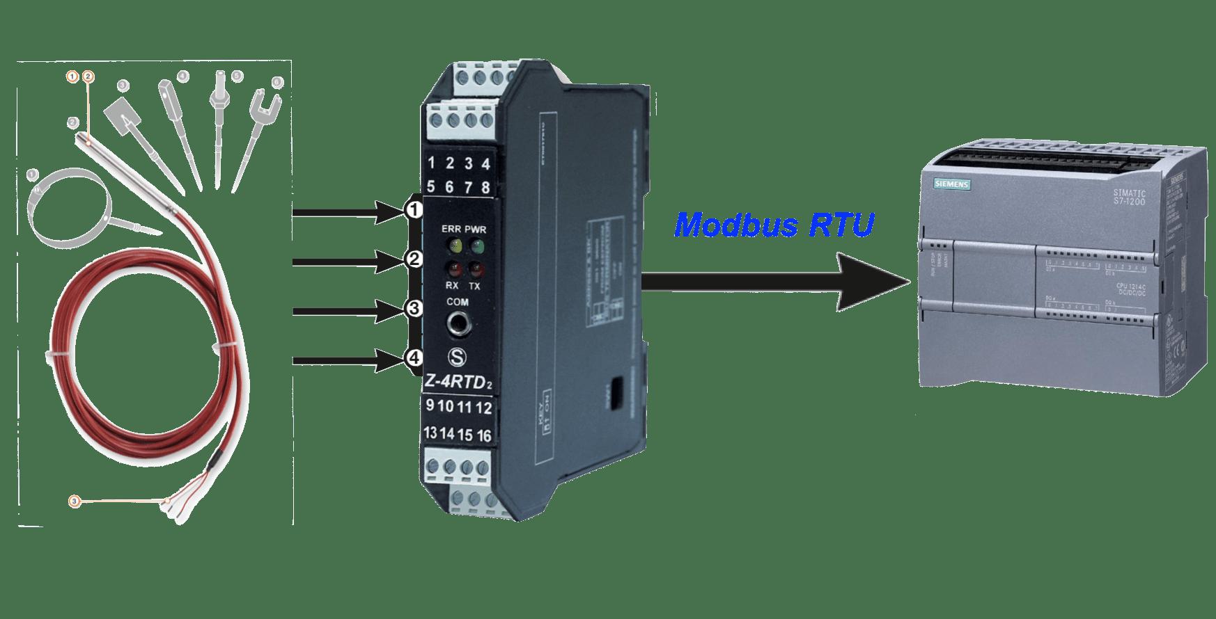 Chuyển đổi tín hiệu nhiệt độ từ pt100 sang modbus rtu