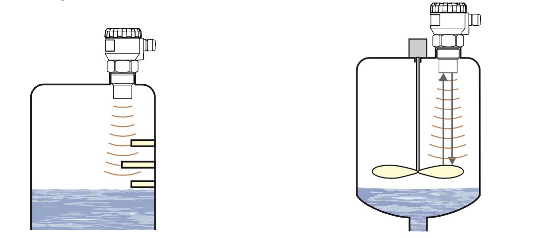 Cảm biến siêu âm không thể đo khi có cánh khuấy
