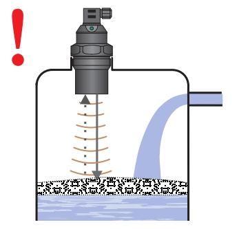 Bọt dày trên bề mặt khi lắp cảm biến siêu âm